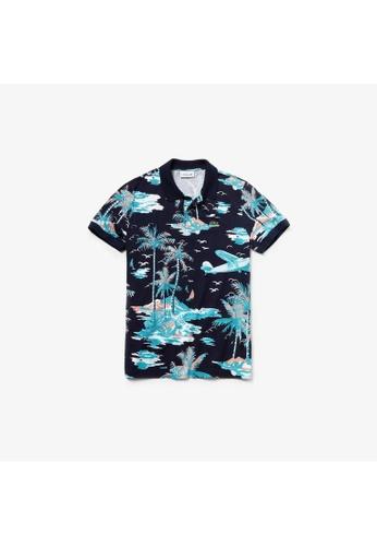 0847816a Men's Lacoste Regular Fit Hawaiian Print Cotton Mini Piqué Polo Shirt -  PH4260-10