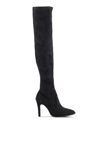 窄管及膝麂皮高筒靴zalora是哪裡的牌子, 女鞋, 鞋