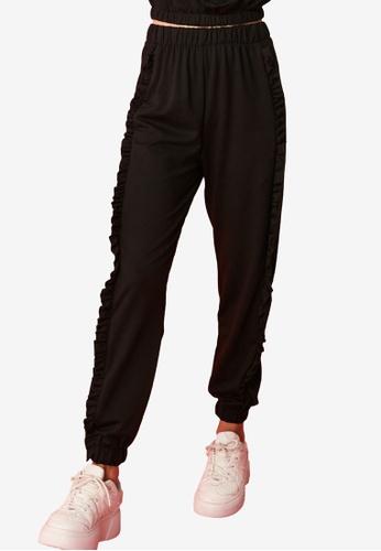Trendyol black Side Ruffle Detail High Waist Sweatpants 50CD3AAFC9A513GS_1