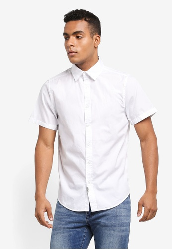 Indicode Jeans white Antioch Short Sleeve Washed Oxford Shirt 4DAD2AA42C9915GS_1