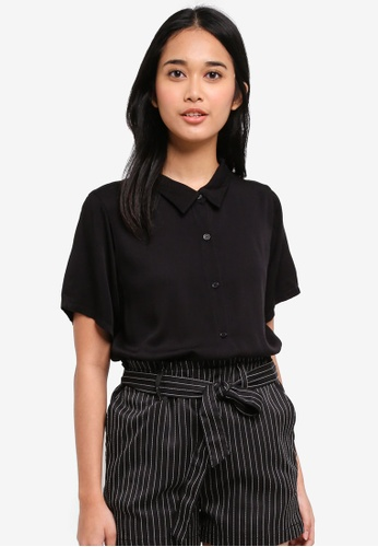 Penshoppe black The Dress Code Poplin Shirt With Button-Down Collar DC59BAABF0E527GS_1