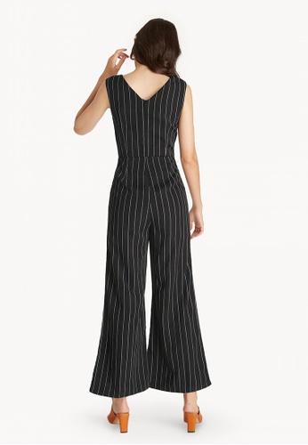 ee4c54b5f1db Shop Pomelo Sleeveless Pinstripe V Neck Jumpsuit - Black Online on ZALORA  Philippines