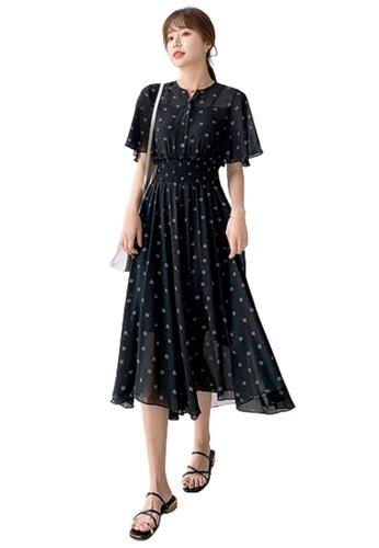 Halo black Printed Chiffon Dress AEFFFAA7C7734DGS_1