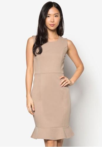 荷葉邊修身連身裙, 服飾, 正zalora開箱式洋裝