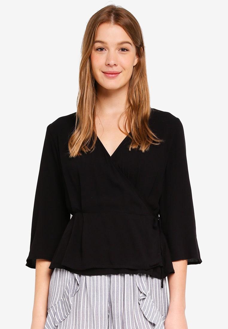 Black Ruth Cotton On Blouse Wrap Peplum x7Ua0YqX