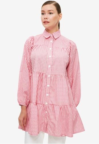 Trendyol 粉紅色 格紋Tunic 襯衫 5C830AA8A7019FGS_1