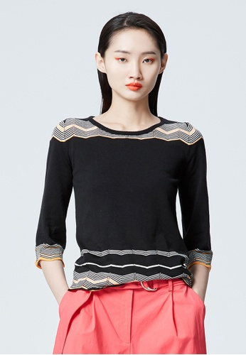 iROO black Knit Blouse 3EE8EAA5DD1E5BGS_1