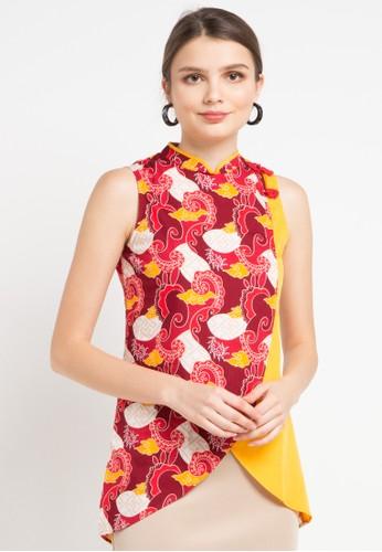 Bateeq red and multi Sleeveless Cotton Print Blouse EDADAAA9406995GS_1