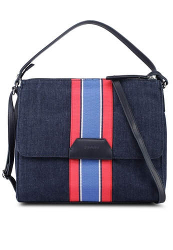 ESPRIT blue Striped Denim Handbag 23E3DAC44230B5GS_1