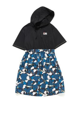 FILA black FUSION FILA X Kōki Camouflage Dropped Shoulders Hooded Dress BDEB1AAD6C36D8GS_1