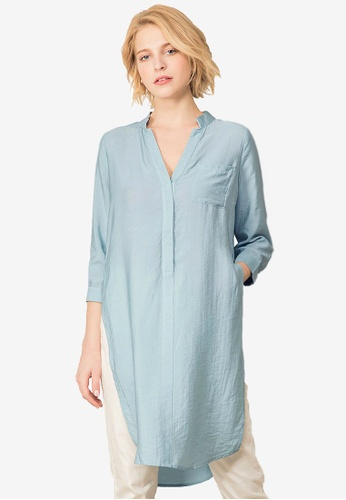 Kodz blue Long Sleeve Relaxed Shirt With Slit 38522AA444846CGS_1