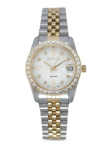 BONIA silver Bonia BNB10087-3157S Silver/Gold Stainless Steel Watch BO777AC0SDZXMY_1