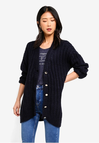Vero Moda navy Becca Long Sleeve V-Neck Button Cardigan 44ECAAA66E04D5GS_1