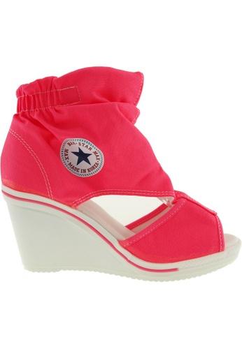Maxstar pink Maxstar Women's 775 Open Toe Elastic Ankle Canvas Wedge Heel Sandals US Women Size MA164SH93QRQSG_1