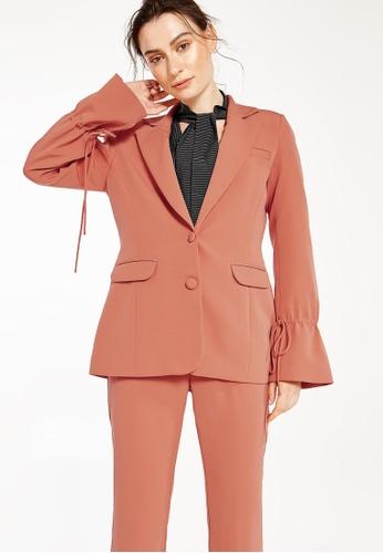 Pomelo orange Adalie Poet Sleeve Blazer - Orange 1510BAAF67CDDFGS_1