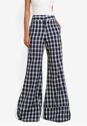 AfiqM blue Gingham Crop Suit Pants AF546AA0S2MCMY_1