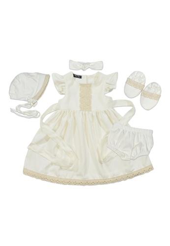 Babycuddleph white Puff Shoulder Dress Baptismal Set C8F27KAAC62F1CGS_1