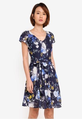 Dorothy Perkins navy Petite Navy Bloom Dress C521FAAAA24E77GS_1
