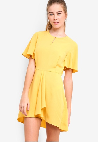 Something Borrowed yellow Flare Sleeves Fit And Flare Dress 8B9CCAA19328FBGS_1