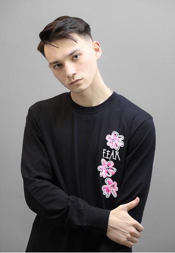 F.E.A.R 黑色 FEAR 圓圈花卉圖案長袖T卹 (黑) 31244AA69DA30EGS_1