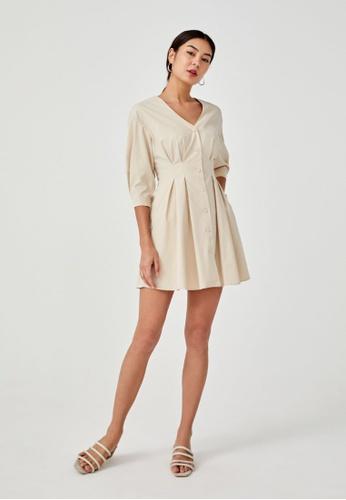Love, Bonito beige Claude Cuffed A-line Dress 54079AAF25DA5AGS_1