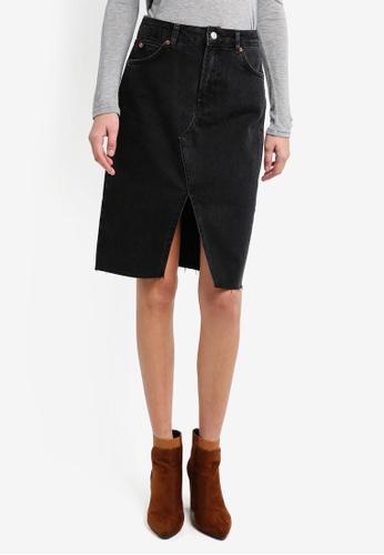 TOPSHOP black Moto Black Midi Denim Skirt TO412AA0T0VUMY_1
