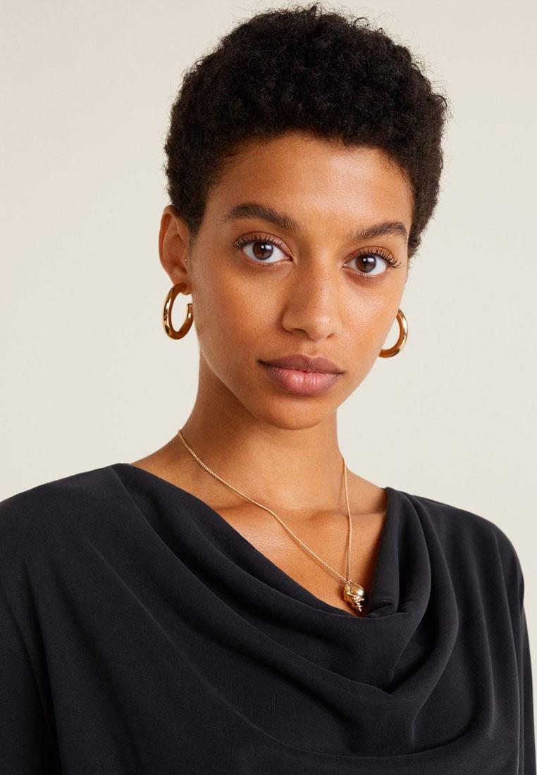 Neckline Charcoal T Draped Mango Shirt AUqw5HUf