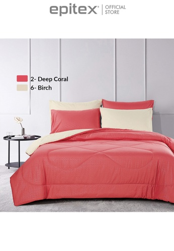 Epitex red Epitex Homu HC8502 900TC Bedsheet - Fitted Sheet Set (Deep Coral) AD928HLCF0B99FGS_1