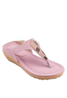 【ZALORA】 金飾夾腳厚底涼鞋
