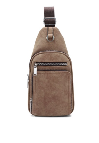 ZALORA brown Multi-Compartments Sling Pack 679A6ZZ689C9CDGS_1