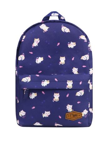 Ripples blue Kitten Mid Sized Kids School Backpack 6E462KCAF10C93GS_1