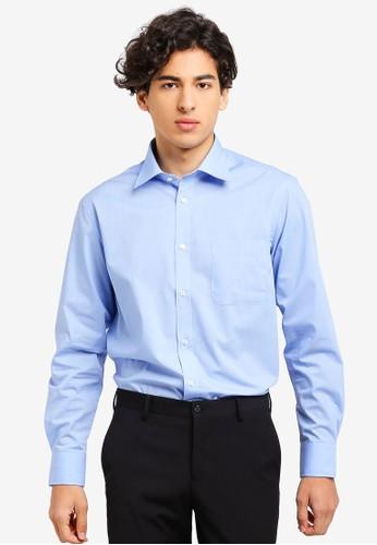 OVS blue Long Sleeves Basic Shirt 848B0AAEB60BA5GS_1