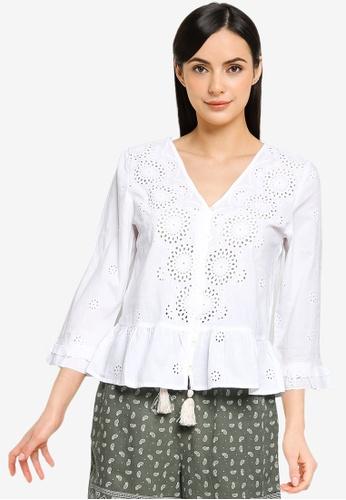 Springfield white Swiss Embroidery Blouse C542EAA1B7E8F0GS_1