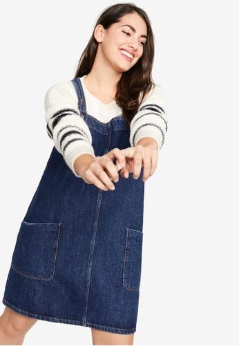 Plus Size Pocket Denim Pinafore Dress