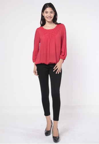 NE Double S red Round Neckline With Lace Patchwork Long Sleeve Blouse DFF81AACE5E2D4GS_1