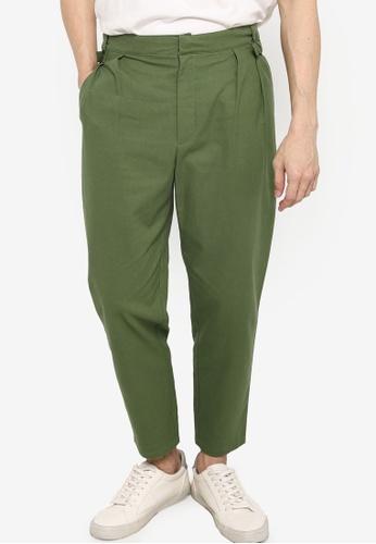 ZALORA BASICS green Buckle Waist Linen Trousers 4880EAAC967D1EGS_1