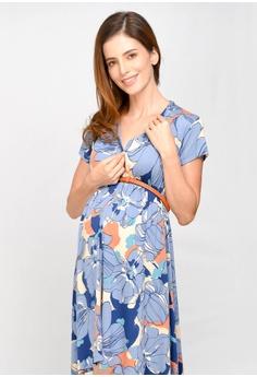 748b2557 49% OFF 9months Maternity Blue Empire Gathered Nursing Dress HK$ 389.00 NOW  HK$ 199.00 Sizes S M L XL