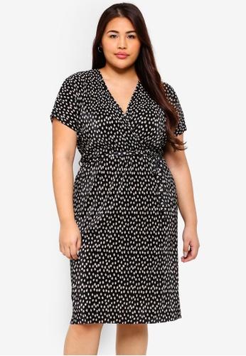 4a021a479ad Dorothy Perkins black Plus Size Spot Plisse Wrap Dress 7976BAAC49EDC9GS 1