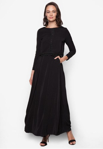 鉤針拼接層次長洋裝, 服飾esprit hk, 洋裝
