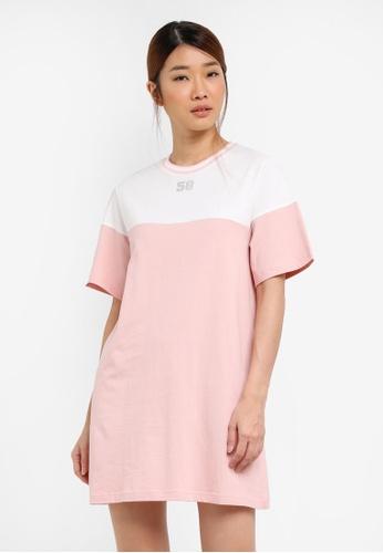 Something Borrowed white Colour Blocked Tee Dress With Rib Trim 4F914ZZ85A8850GS_1