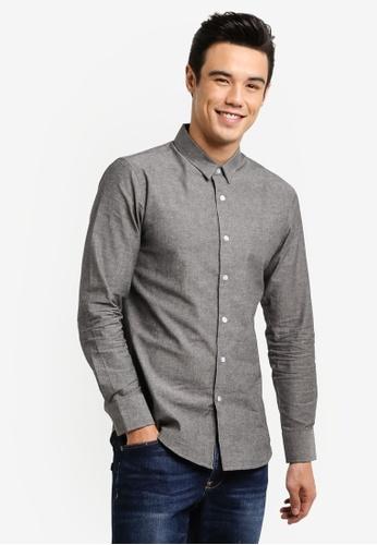 ZALORA black Slim Fit Chambray Long Sleeved Shirt 2A5EAZZ7B6FF3CGS_1