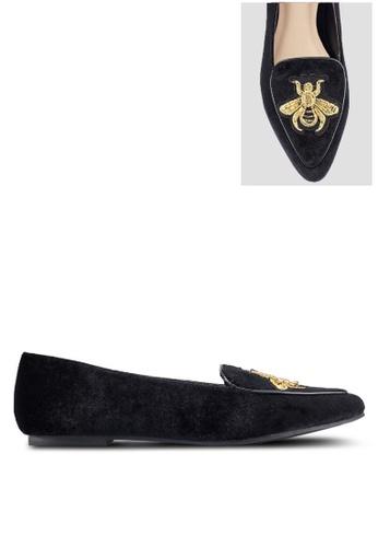 ZALORA black Bee Embroidery Velvet Loafers E0972ZZ0A6A3D7GS_1