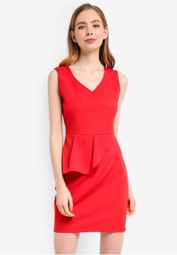 ZALORA red Peplum Dress 650DDAA849F572GS_1