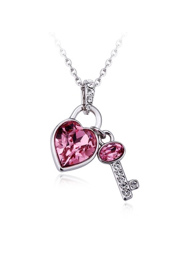 OUXI pink and silver OUXI Heart Pledge Necklace OU821AC23OFWMY_1