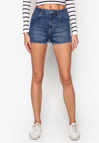 MOTO 抽鬚丹寧短褲, zalora 評價服飾, 短褲