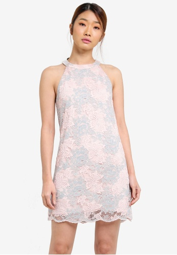 Something Borrowed pink Lace Scallop Edge Shift Dress D3E8EAA5783E62GS_1