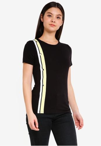 Dorothy Perkins 白色 Black Button Trim T-Shirt 4ED63AA9C24974GS_1