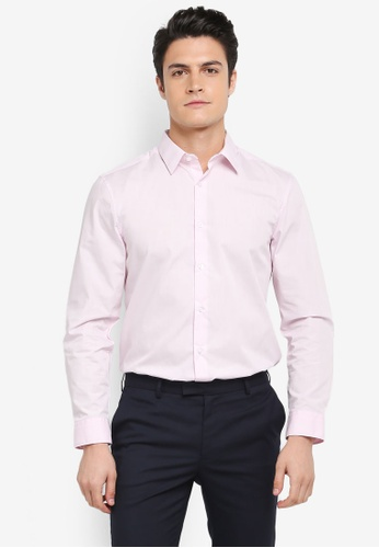 Burton Menswear London pink Pink Tailored Fit Easy Iron Shirt E8AC8AAD2804E1GS_1