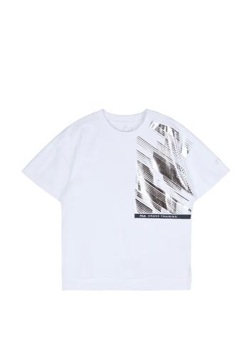 FILA white FILA CROSS TRAINING Logo Side Split Dropped Shoulders T-shirt 63230AA347C53CGS_1