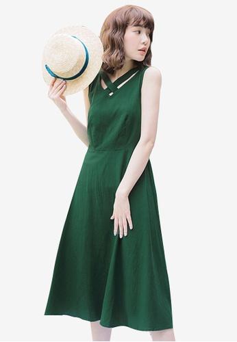 Sesura green Luscious Style Midi Dress 04F92AA1E8EA26GS_1